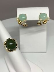 Ming's Hawaii Green Jade And Pearl 14k Yellow Gold Ring And Earrings Set Suite