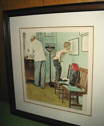Norman Rockwell Original Signed Lithograph A/p Before The Shot Framed + Coa