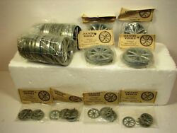 Lot Of 80 Cast Metal Wagon Wheels For Crafts/toy Making Nos
