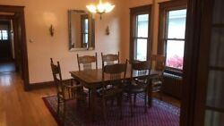 Antique Oak Mission Style Room Table W/6 Chairs And 2 Leaves