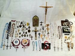 Vintage Religious Lot, Medals, Rosaries, Crosses And More, Catholic, Christianity