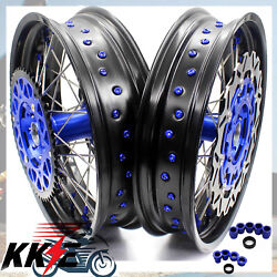 Kke 17 Supermoto Complete Wheel Rim Set Fit Yamaha Yz250 Yz250f Yz450f 2003-19