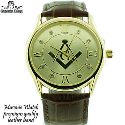 Mens Masonic Elegant Brown Leather Band Watch W Roman Numerals And Gold Dial