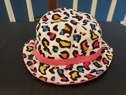 Toddler Girls Hat Beach Leopard Print Reversible w pink Terry cloth. $4.50