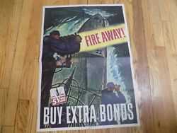 Authentic Wwii Poster Fire Away 5th War Loan In Memory Uss Dorado Poster
