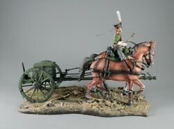 Painted Tin Toy Soldier Element Number 2. Two Horse With Gun Front And Riding