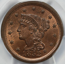1852 1c N-3 Braided Hair Large Cent Pcgs And Cac Ms 65 Rb