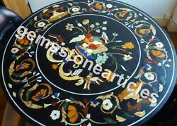 36 Black Marble Round Dining Table Top Marquetry Fruit Inlay Floral Art Decor
