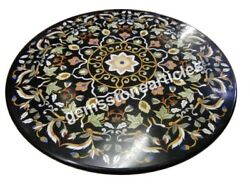 38 Black Marble Decorative Round Center Table Top Inlay Floral Art Decor Gift
