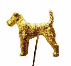 WIRE Fox TERRIER DOG 14K YG Stickpin ANTIQUE Fine