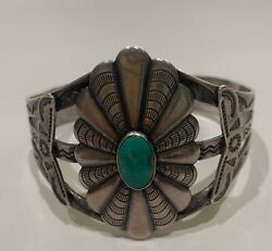 Vintage Crow Springs Turquoise And Sterling Silver Cuff