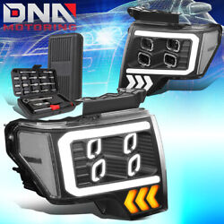 For 2009-2014 Ford F150 Led Drl Quad Halo Projector Headlight+tools Black/clear