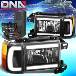 For 1987-1991 Ford Bronco F150 F250 Led Drl Headlights Lamps+tools Black/amber