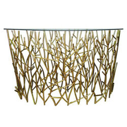 Gold Branches Demilune Twig Console Table Iron Sofa Modern Hall Entry