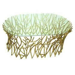 Glass Top Gold Twigs Coffee Cocktail Table Contemporary Branches