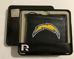 Los Angeles Chargers Nfl Team Logo Embroidered Leather Bi-fold Billfold Wallet