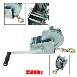 3500lbs Dual Gear Hand Winch Hand Crank Manual Boat Atv Rv Trailer 33ft Cable 32