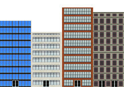 Background High-rise Flat Front City Buildings For O Scale Model Train Layout