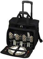 D Picnic Backpack On Wheels For 4 Equipped Set for Outdoor Brown London $206.09