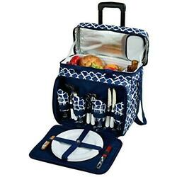 D Picnic Backpack On Wheels For 4 Equipped Set for Outdoor Trellis Blue $206.09