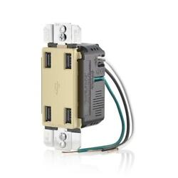 Leviton Decora Usb Charger Port Combo Outlet Thermoplastic 4 Port 4.2 Amp Ivory