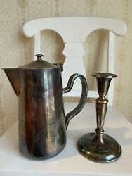 D.w. Haberandson Ny Coffee Pot And Candlestick