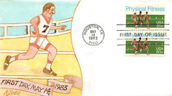 2043 20c Physical Fitness Ralph Dyer Hand Painted Cachet. [17813]