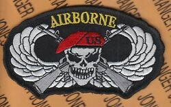 Us Army Airborne Parachute Skull Crossed Rifles Wing 4.5 Hat Patch M/e