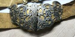 Rare Antique Vintage Russian Big Niello Silver And Gilt Silver Buckle Belt Signed