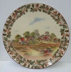 Huge Antique Doulton Charger Wall Plate Hand Painted Acorn Edge Cottage Farm
