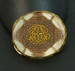 Rare Early Georgian Era Stuart Crystal 15ct Gold Slider With Hair And Initials