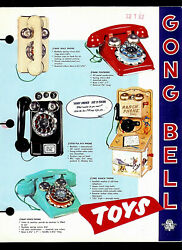 1950's Gong Bell Ranch Wall Phone Rolling Toys Toy Pen Dealer Sales Brochure