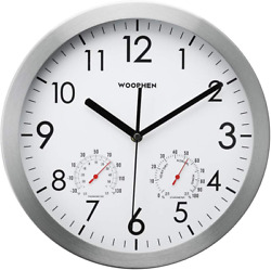 Large Wall Clock Modern Silent with Thermometer Hygrometer Contemporary Decor