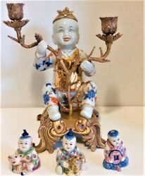 Antique Chinese Bronze Baby 1 Candleholder With 3 Mini Antique Chinese Porcelain