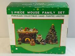 Vtg Reflections Of Christmas 5 Piece Mouse Family Set Porcelain Collectables