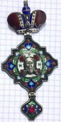 Antique Imperial Russian Bishop Panagia Sterling Silver 84 Enamel Natural Ruby