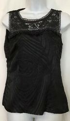 Class Roberto Cavalli Top Black Silk Embroidered And Beaded Sleeveless Size 8