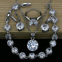 Clear Round Topaz Jewelry Set Shiny Crystals 925 Sterling Silver Classic Style