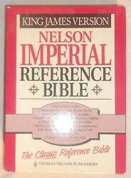 Nelson Imperial Reference Bible Black Bonded Leather Cover Gold Edges In Box
