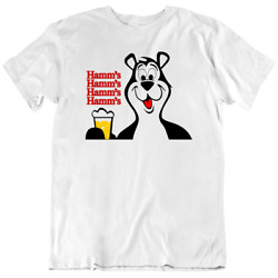 Beer Bear Hamms Tee Alcohol 60and039s Classic Beer Retro White Menand039s T Shirt New