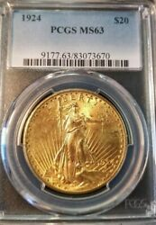 1924 20 Gold Double Eagle St Gaudens Pcgs Ms 63 Beautiful Original Luster