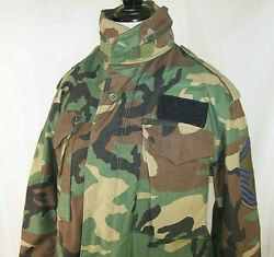 Usaf Field Jacket Cold Weather Woodland Camo M-65 U.s Air Force Small Short