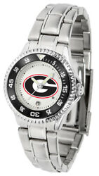 Georgia Bulldogs Ladies Competitor Stainless Steel Watch