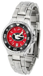 Georgia Bulldogs Ladies Anochrome With Color Bezel Stainless Steel Watch