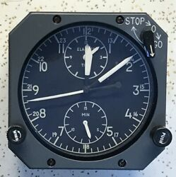 12 Hour Boeing Aircraft Clock 2 3/4 Inch Dial Aerosonic Lecoultre Made Led Light