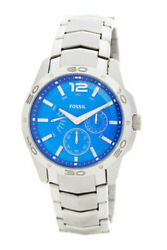 Fossil Menand039s Stainless Steel Blue Dial Watch Bq9420 Brand New