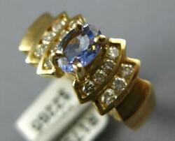 .86ct Diamond And Aaa Tanzanite 14kt Yellow Gold Oval And Round Friendship Love Ring