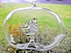 Farm Ornament Clear Glass Collectible Egg Chicken Duck Home Cabin Birthday Gift