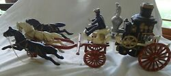 Large Repro Cast Iron Fire Truck Carriage With 3 Horses