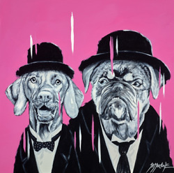 Laurel And Snarley Original Jay Fortune - English Bulldog Dogs Laurel And Hardy